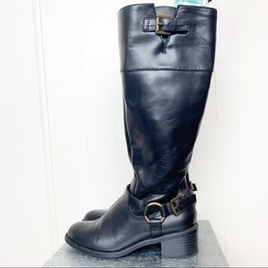 Chaps vegan leather riding boots w brass hardware